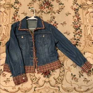 Denim Liz Claiborne Jacket w/ Textured Border